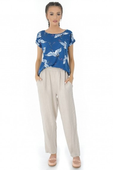 Bluza Roh Boutique albastra, ROH, cu imprimeu pasari - BR1825 albastru|multicolor