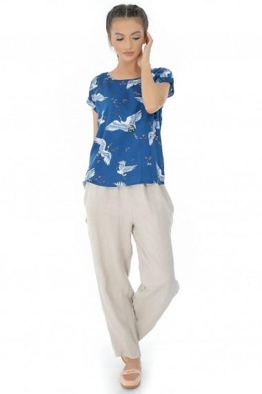 Bluza Roh Boutique Albastra, ROH, cu imprimeu pasari - BR1825 Albastra|Multicolora