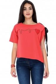 Bluza Roh Boutique Alba, ROH, cu imprimeu inima - BR1842 Alba|Neagra One Size