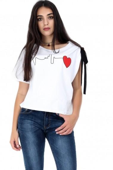 Bluza Roh Boutique corai, ROH, cu imprimeu inima - BR1841 alb|negru One Size