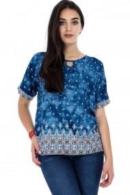 Bluza Roh Boutique Albastra, ROH, cu slit la gat - BR1838 Albastra|Multicolora