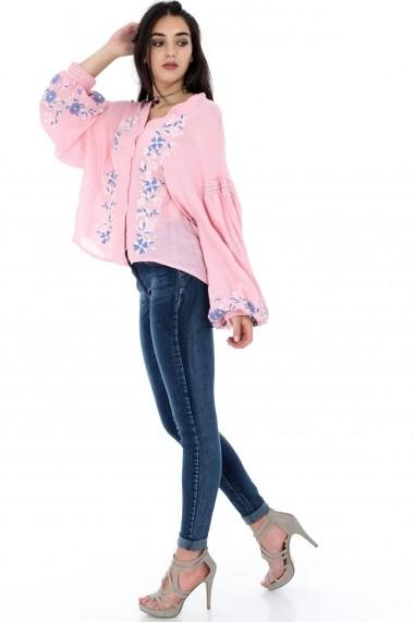 Bluza Roh Boutique roz, ROH, cu broderie - BR1856 roz|multicolor