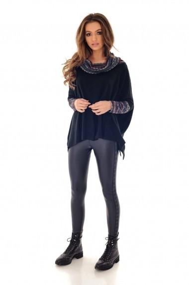 Bluza Roh Boutique neagra, ROH, cu contrast - BR1983 negru|multicolor