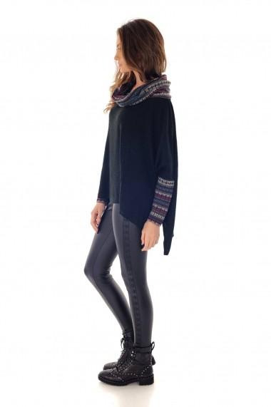 Bluza Roh Boutique Neagra, ROH, cu contrast - BR1983 Neagra|Multicolora