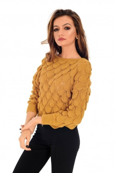 Pulover Roh Boutique mustar, ROH, tricotat, scurt - BR1977 mustar
