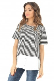 Bluza Roh Boutique cu maneca scurta, cu dungi negre, ROH - BR2085 negru|alb