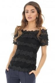 Bluza Roh Boutique crosetata, neagra, cu maneci scurte, ROH - BR2104 negru