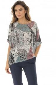 Bluza Roh Boutique lejera, ROH, cu imprimeu multicolor - BR2122 bej|multicolor