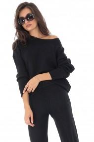 Compleu Roh Boutique bluza si pantalon neagra, cu aspect ripsat, ROH - TR336 negru