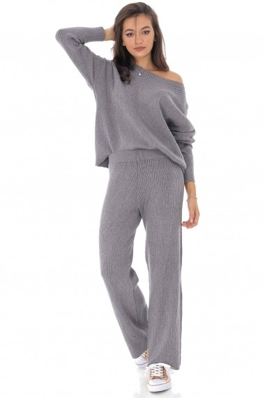 Compleu Roh Boutique bluza si pantalon gri, tricotat, ROH - TR335 gri