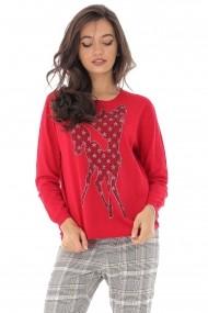 Bluza Roh Boutique rosie Bambi, cu aplicatii stralucitoare, ROH - BR2209 rosu