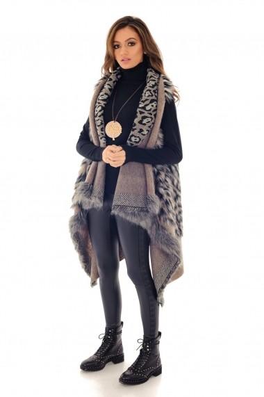 Vesta Roh Boutique cu blanita, ROH, animal print - JR429 bej|multicolor
