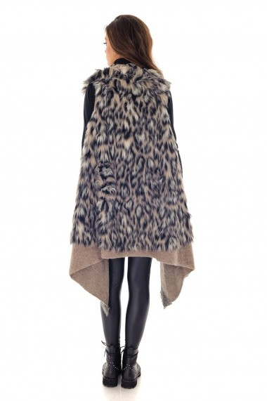 Vesta Roh Boutique cu blanita, ROH, animal print - JR429 bej|multicolor