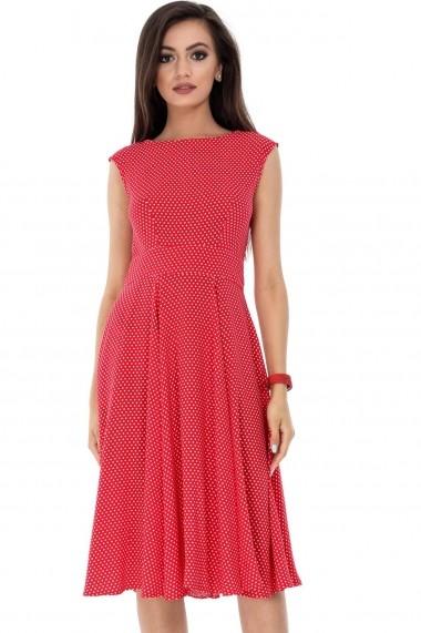 Rochie de zi Roh Boutique rosie, ROH, stilul anilor 50 - DR3410 rosu|alb