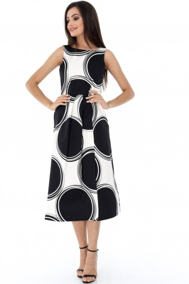 Rochie de zi Roh Boutique neagra, ROH, retro - DR3418 negru|alb