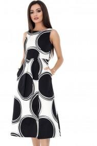 Rochie de zi Roh Boutique - DR3418 neagra cu alb