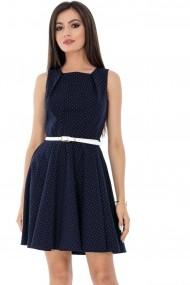 Rochie de zi Roh Boutique cu buline- DR3416 bleumarin cu alb