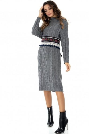 Rochie de zi Roh Boutique tricotata - DR3626 gri