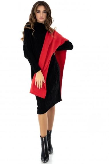 Rochie de zi Roh Boutique tricotata - DR3625 neagra