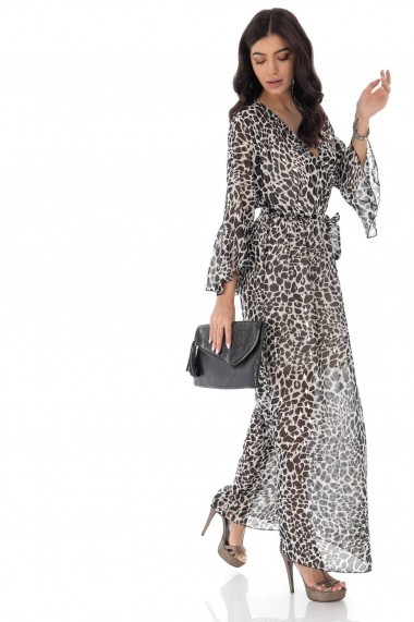 Rochie lunga Roh Boutique eleganta petrecuta, curea in talie DR4181 negru