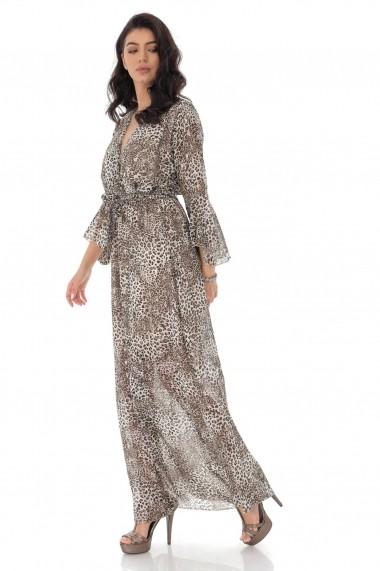 Rochie lunga One Size Roh Boutique eleganta petrecuta, curea in talie DR4180 maro