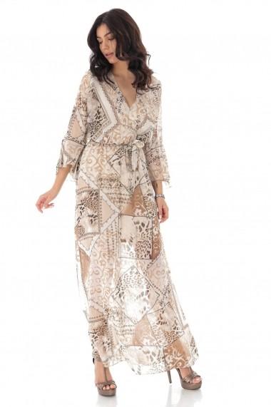 Rochie lunga One Size Roh Boutique eleganta petrecuta, curea in talie DR4179 crem