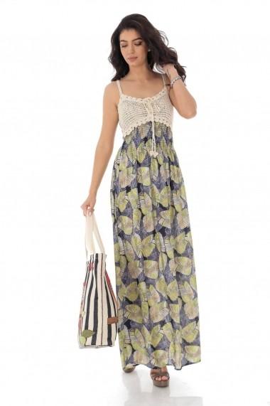 Rochie lunga One Size Roh Boutique Maxi cu imprimeu din frunze DR4175