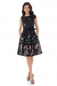 Rochie midi Roh Boutique din bumbac imprimeu cu fluturi DR4165 negru