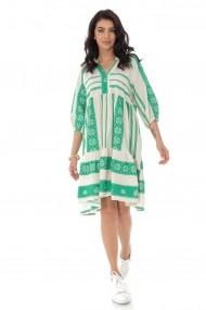 Rochie Roh Boutique din bumbac, oversize, cu broderie - Verde - DR4171 verde