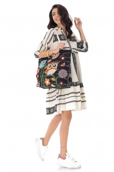 Rochie scurta Roh Boutique din bumbac, oversize, cu broderie DR4170 negru