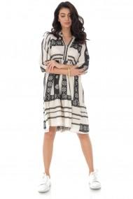 Rochie Roh Boutique din bumbac, oversize, cu broderie - Black - ROH - DR4170 negru