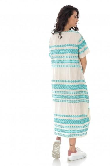 Rochie midi Roh Boutique oversize cu broderie azteca DR4168 turcoaz