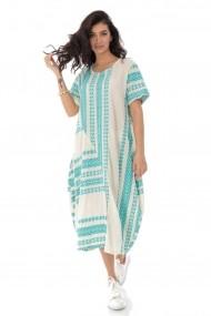Rochie Roh Boutique oversize cu broderie azteca - TURQ - ROH - DR4168 turcoaz
