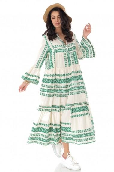 Rochie lunga Roh Boutique maxi, din bumbac, Boho Style DR4167 verde