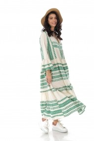 Rochie lunga Roh Boutique maxi, din bumbac, Boho Style DR4167 verde
