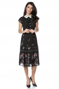 Rochie midi Roh Boutique neagra cu guler crosetat DR4132 negru