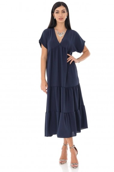 Rochie lunga Roh Boutique midi, oversize DR4198 bleumarin