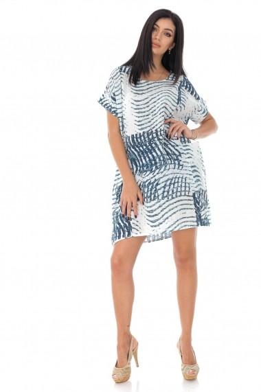 Tunica Roh Boutique oversize, cu maneci scurte, imprimata DR4191 alb, albastru