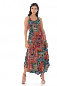 Rochie lunga Roh Boutique maxi, de vara, cu imprimeu aztec - Rosu - ROH - DR4190 rosu