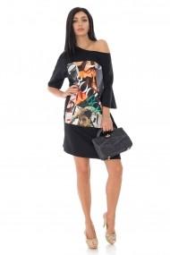 Rochie scurta Roh Boutique oversize, cu piesa imprimata DR4185 negru