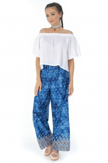 Pantaloni largi Roh Boutique ROH-7320 - TR266 albastru|multicolor