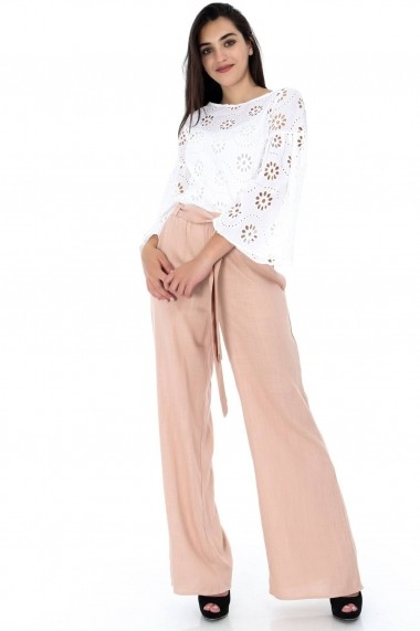 Pantaloni largi Roh Boutique roz, ROH, largi - TR281 roz