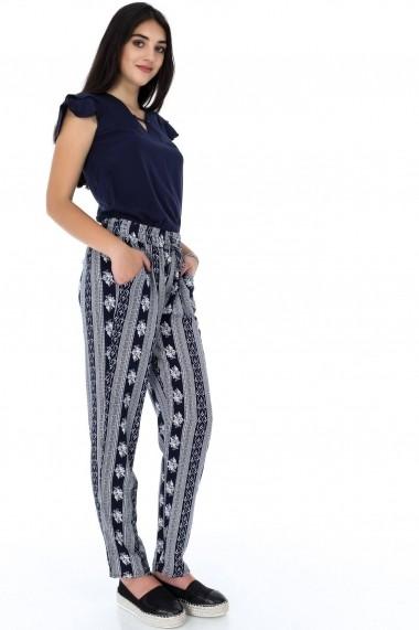 Pantaloni largi Roh Boutique ROH-7335u - TR275 bleumarin|alb