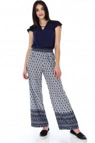 Pantaloni largi Roh Boutique ROH-7334a - TR274 bleumarin|alb