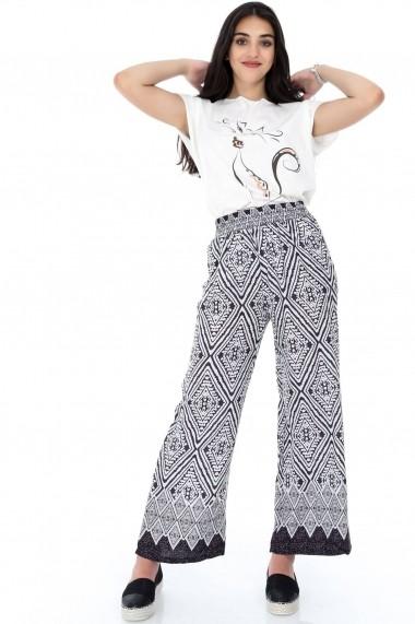 Pantaloni largi Roh Boutique ROH-7332- TR272 mov|alb