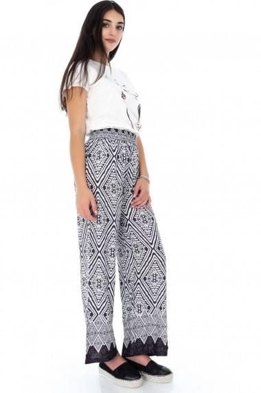Pantaloni largi Roh Boutique ROH-7332- TR272 mov alb