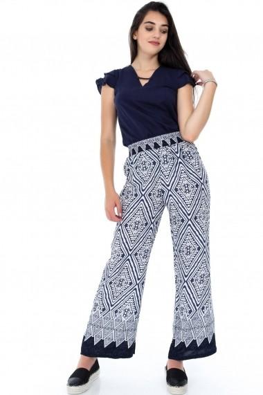 Pantaloni largi Roh Boutique ROH-7331 - TR271 bleumarin alb