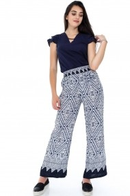Pantaloni largi Roh Boutique ROH-7331 - TR271 bleumarin|alb