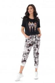 Pantaloni largi Roh Boutique casual cu imprimeu - Gri - ROH - TR387 gri