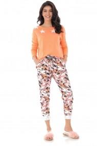 Pantaloni largi Roh Boutique casual cu imprimeu TR386 roz